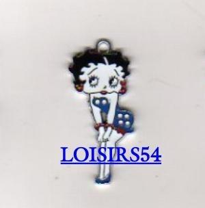 Betty Boop Emaillé pendentif bleu