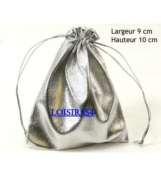 Bourse cadeau argenté polyester 10 cm pour dragées