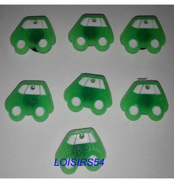Boutons plastique auto vert lot de 7 de 25 mm pour la couture