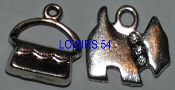 Breloque Chien et sac 25 mm avec anneau