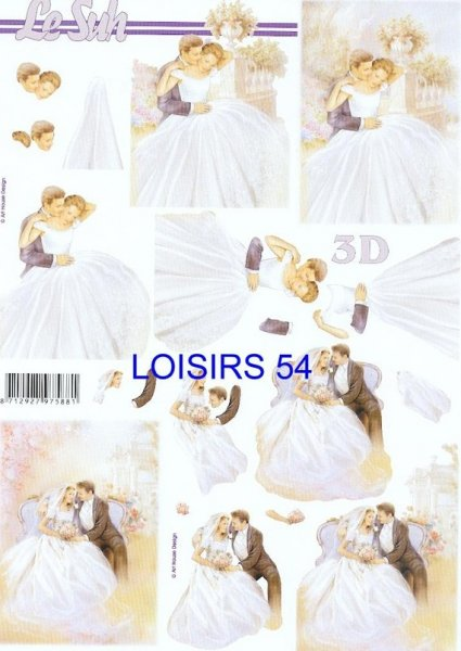 Feuille 3D mariage et costume