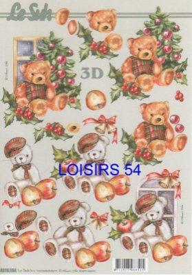 Feuille 3D ourson de Noël