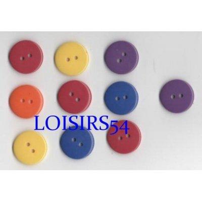 Lot de 10 boutons couleurs clairs et divers de 22 mm pour la couture