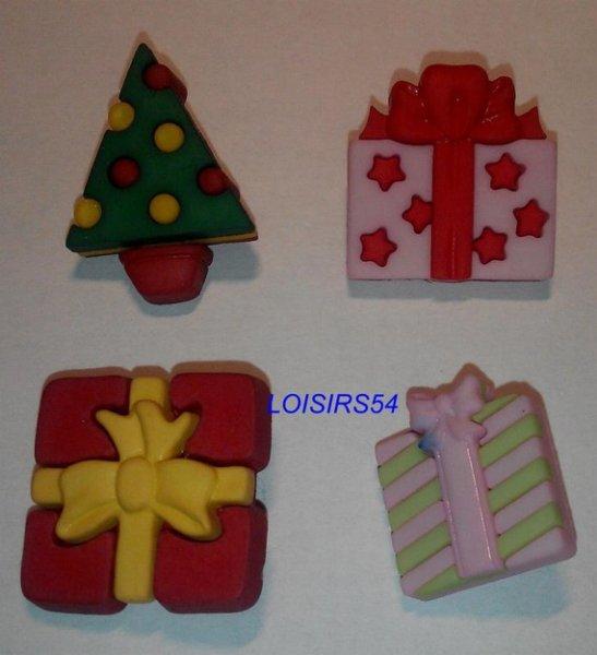Lot de 4 boutons cadeaux résine plastique de 20 mm pour la couture