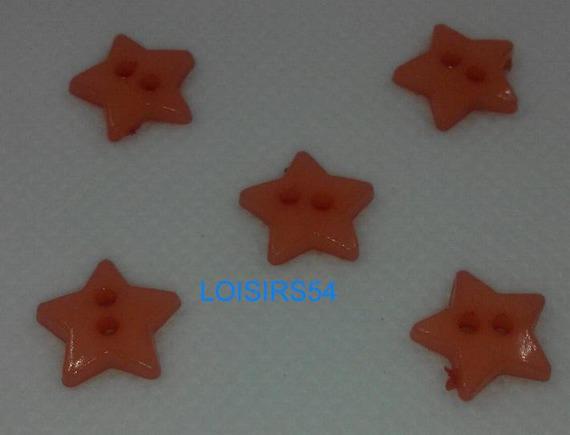 Lot de 5 boutons plastique couleurs orange motif étoile 15 mm pour la couture