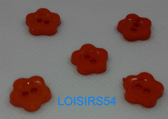 Lot de 5 boutons plastique couleurs rouge motif étoile 15 mm pour la couture