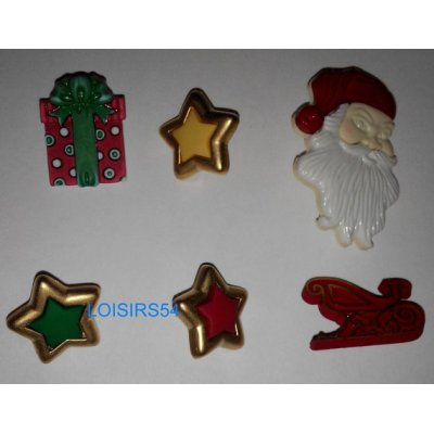 Lot de 6 boutons Noël résine plastique de 20 mm pour la couture