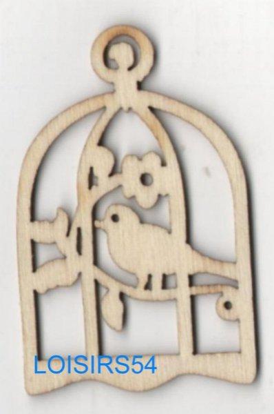 Oiseau bois avec cage 35 mm x 55 mm à décorer