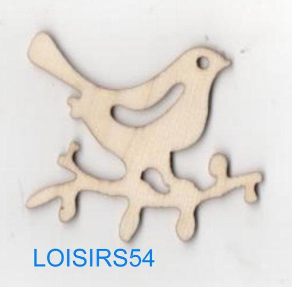 Oiseau bois sur une branche 35 mm x 50 mm à décorer