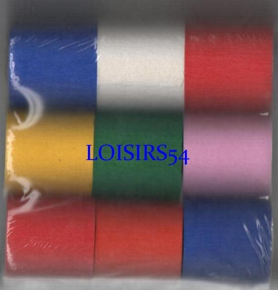 Papier crépon lot de 9 x 10 M couleur divers