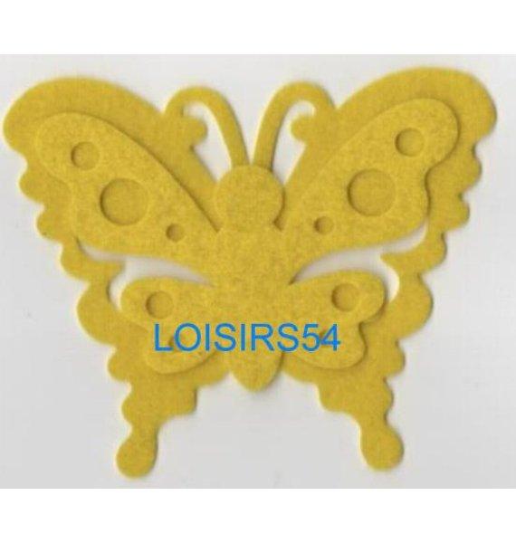 Papillon feutrine jaune 100 mm x 60 mm