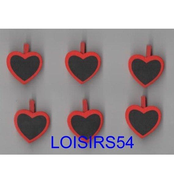 Pinces à linge coeur lot de 6 pieces