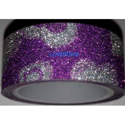 Ruban adhésif pailleté coeur violet 1,5 cm x 300 cm