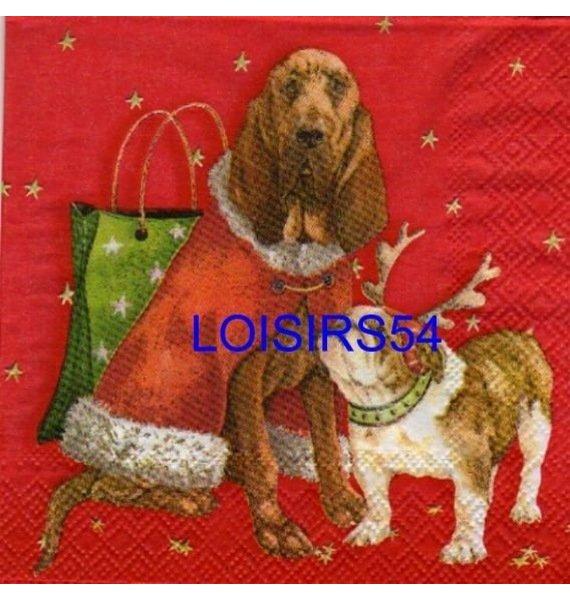 Serviette papier 2 chiots de Noël