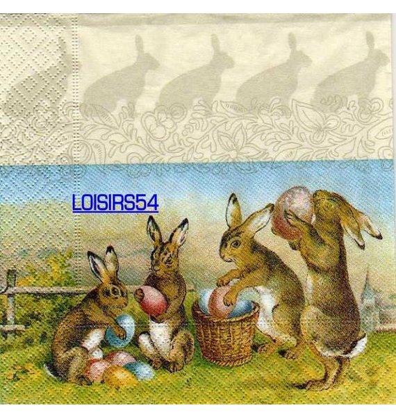 Serviette papier 4 lapins de Pâques