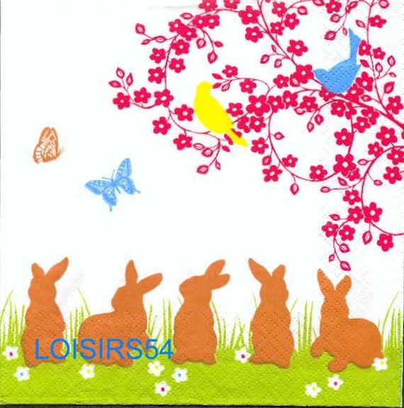 Serviette papier 5 lapins de Pâques