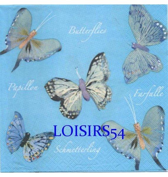 Serviette papier 5 papillons multicolore