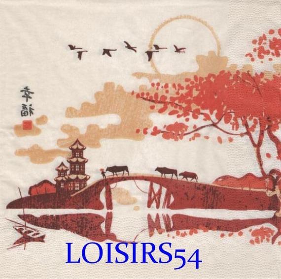 Serviette papier Asie et paysage au bord de l'eau