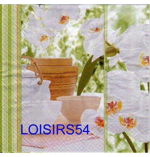 Serviette papier Asie et fleurs blanches