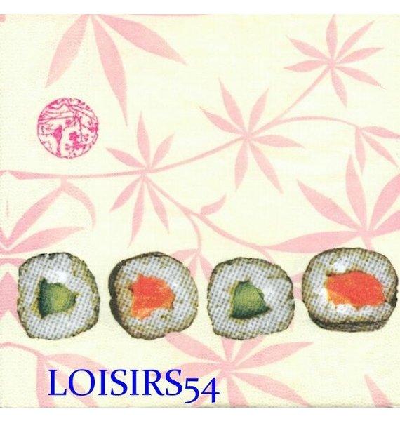 Serviette papier Asie et poissons 33 cm x 33 cm