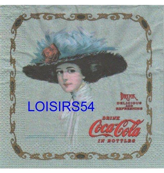 Serviette papier Coca Cola  Pub dame ancien temps