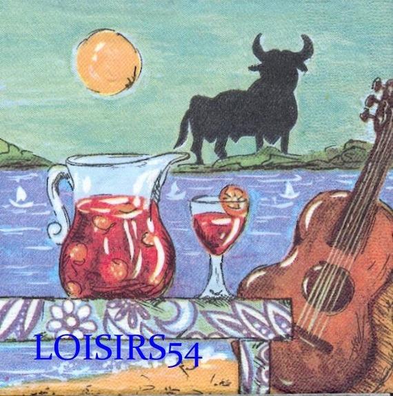 Serviette papier Espagne et sangria 33 cm x 33 cm pour décoration