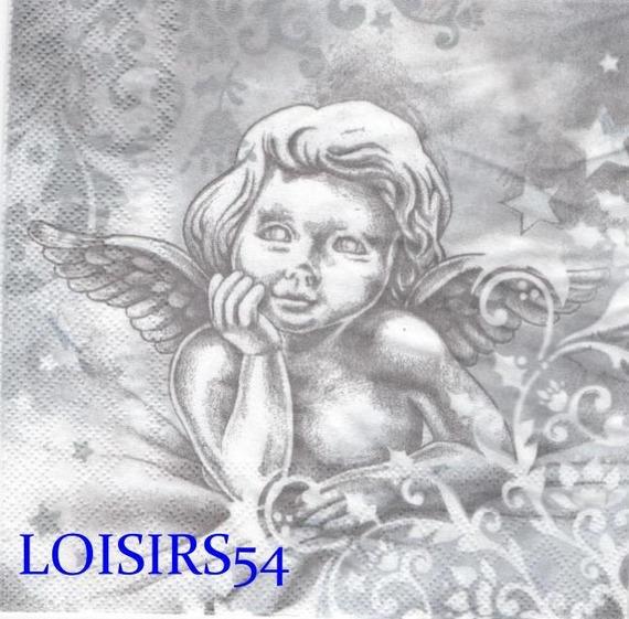 Serviette papier Noël ange pensif 33 cm x 33 cm