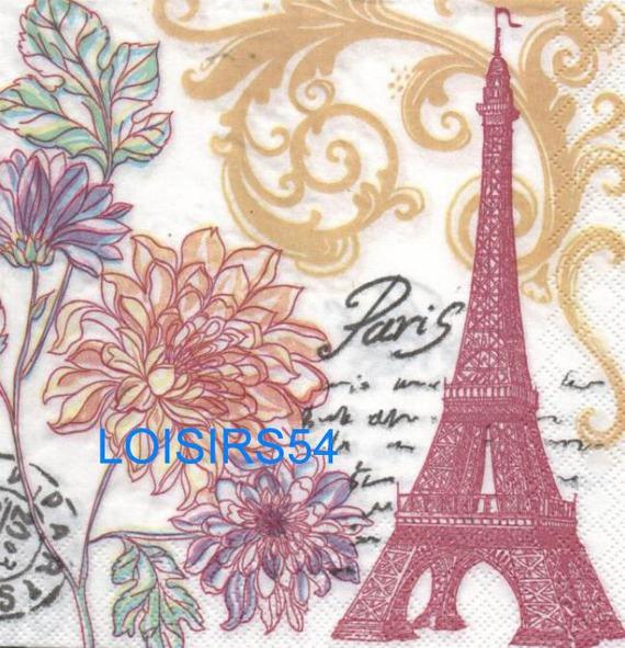 Serviette papier Paris en fleurs - 33 cm x 33 cm