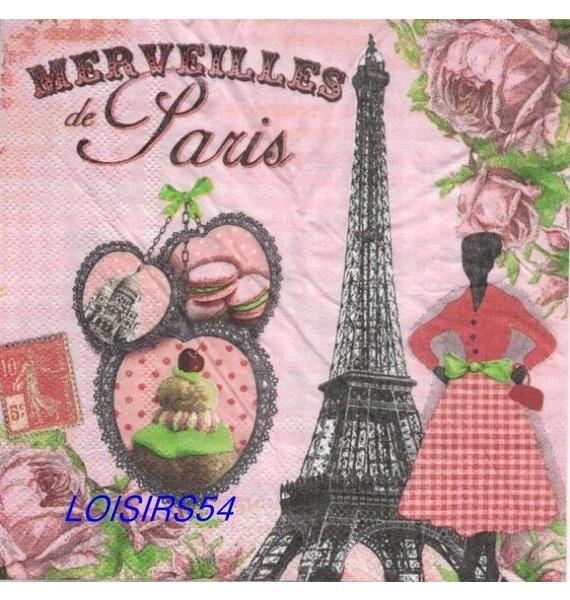 Serviette papier Paris et Merveilles 33 cm x 33 cm