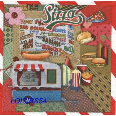 Serviette papier Pizza et Italie - 33 cm x 33 cm