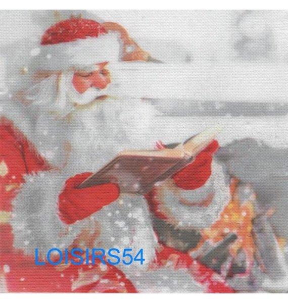 Serviette papier Père Noël et livre de Noël - 38 cm x 38 cm