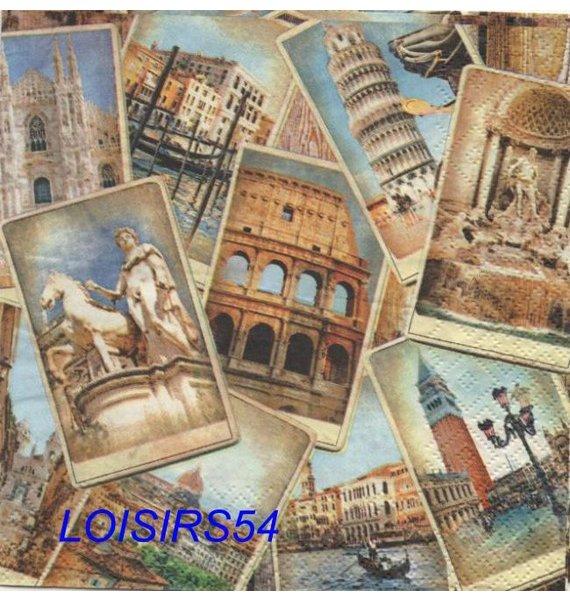 Serviette papier Rome et Italie - 33 cm x 33 cm 3 plis