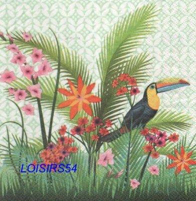 Serviette papier Toucan et fleurs - 33 cm x 33 cm