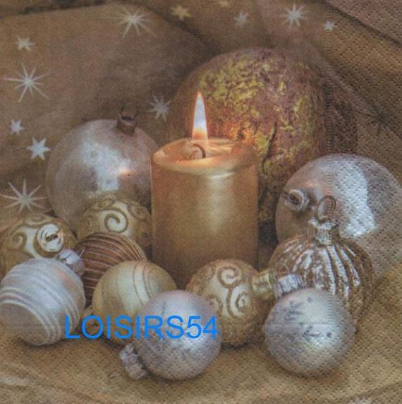 Serviette papier boules de Noël or - 33 cm x 33 cm