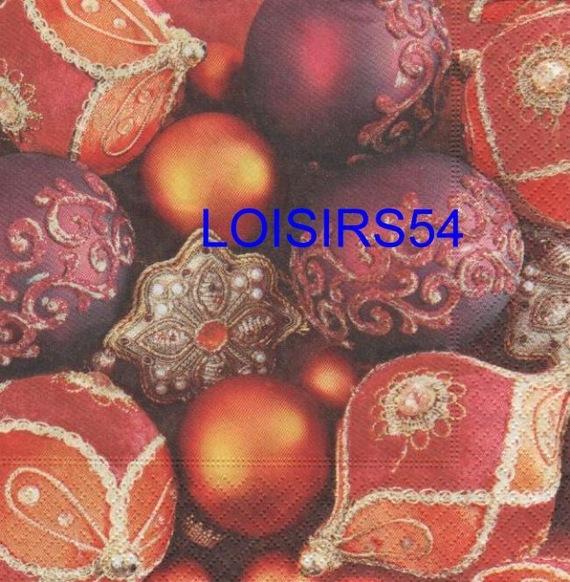 Serviette papier boule Noël rouge