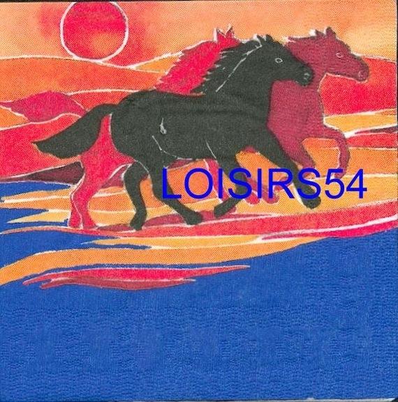 Serviette papier chevaux sauvage