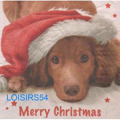 Serviette papier chien et Noël - 33 cm x 33 cm