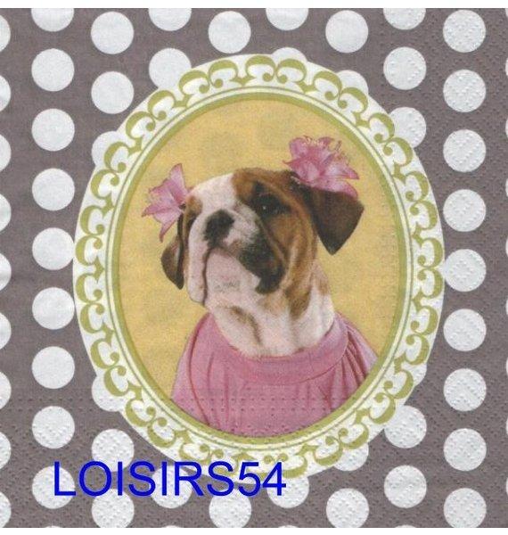 Serviette papier chien.avec robe et fleurs