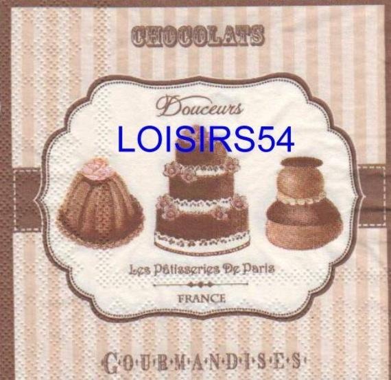 Serviette papier chocolats et gourmandises