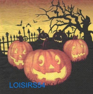Serviette papier citrouille et Halloween - 33 cm x 33 cm