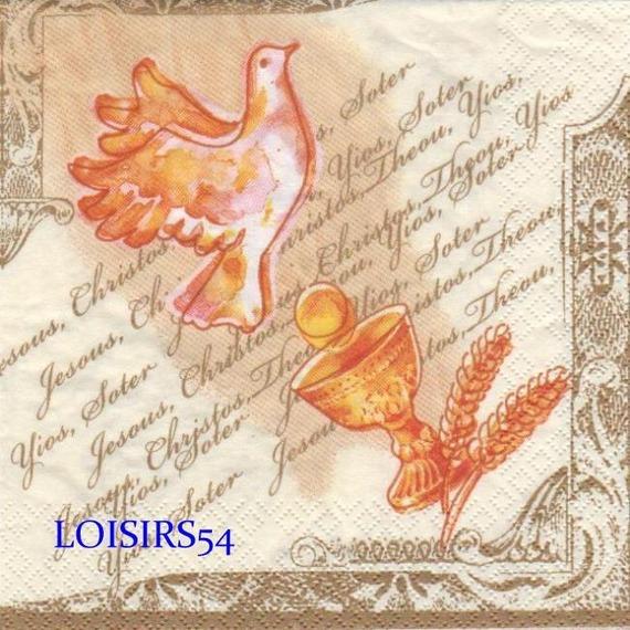 Serviette papier communion et calice 33 cm x 33 cm 3 plis
