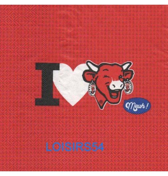 Serviette papier j'aime la vache- 33 cm x 33 cm