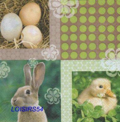 Serviette papier lapin et poussin - 33 cm x 33 cm