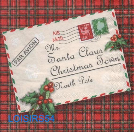 Serviette papier lettre au Père Noël - 33 cm x 33 cm