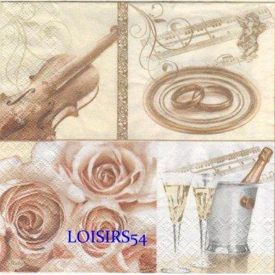 Serviette papier mariage et musique 33 cm x 33 cm 3 plis