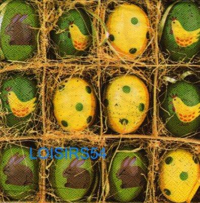 Serviette papier oeufs au nid de Pâques