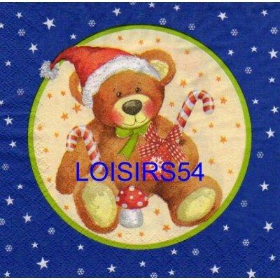 Serviette papier ourson Noël
