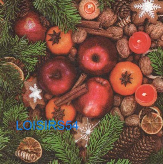 Serviette papier pomme de Noël - 33 cm x 33 cm