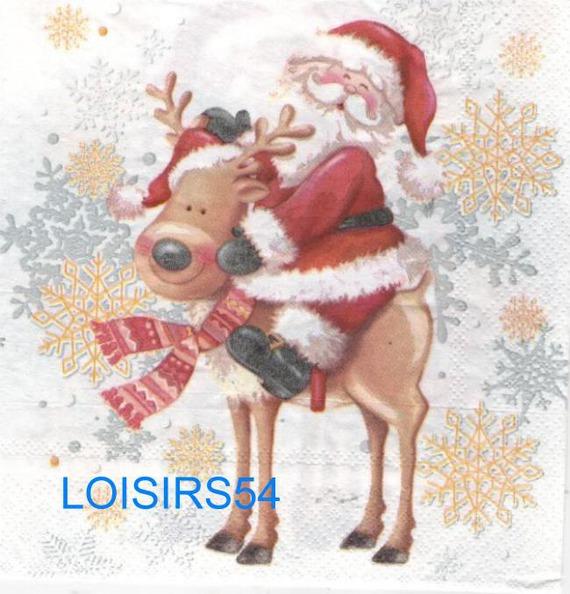 Serviette papier renne et Père Noël - 33 cm x 33 cm