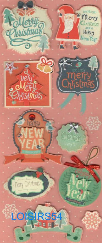 Stickers 3D autocollants Noël et Happy New Year  pour décoration